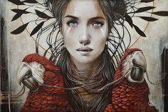 """Red Guides"" by Sophie Wilkins. 20 x 30 inches Acrylic on canvas… Pop Art, Street Art, L'art Du Portrait, Portraits, Magic Realism, Illustration Girl, Surreal Art, Art Google, Illustrations"