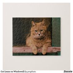 Cat Leans on Windowsill Jigsaw Puzzle Make Your Own Puzzle, Custom Gift Boxes, Domestic Cat, Window Sill, Colour Images, Cat Day, High Quality Images, Your Design, Jigsaw Puzzles
