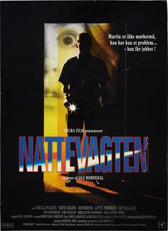 Nattevagten (Ole Bornedal, DK, 1994) Poster art: unknown. Poster still: Rolf Konow. Law students Jens and Martin engage in a game of dangerous challenges. Martin works the night shift as watchman in a hospital morgue and encounters a lone wolf policeman bent on solving a serial murder case involving prostitutes. www.dfi.dk/faktaomfilm/film/en/9345.aspx?id=9345