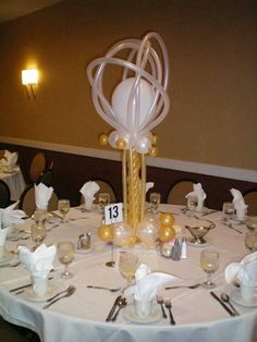 White and Gold Table Centre Pieces