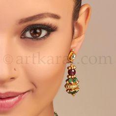 Enlarged View Drop Earrings, Green, Jewelry, Fashion, Moda, Jewlery, Bijoux, Fashion Styles, Schmuck