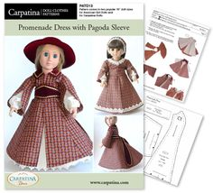1850s Promenade Dress w/ Pagoda Sleeve ~ PDF Download Pattern in two sizes: for Carpatina and for American Girl Dolls