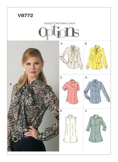 Vogue Misses' Pointed Collar Or Pussy Bow Blouses Fitted blouse has collar, sleeve and hem variations, French darts and narrow hem. Vogue Patterns, Easy Sewing Patterns, Blouse Patterns, Blouse Sewing Pattern, Vintage Patterns, Sewing Ideas, Bow Blouse, Contrast Collar, Jacket Pattern