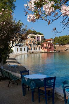 I would die to be sitting at that table right there! Assos Bay, Kefalonia island ~ Greece