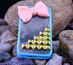 Pink Bow Knot Studded Iphone 5 Case, Studded iPhone 5 Case with Golden Studs,