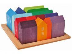 FeelGood Market online:Houten blokkenset huisjes, Grimm's