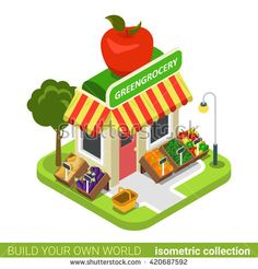 Greengrocery grocery vegan vegetable fruit building realty real estate concept. Flat 3d isometry isometric style web site app concept vector illustration. Build your own world architecture collection.