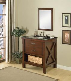 """Show details for 32"""" Espresso Xtraordinary Spa single vanity sink cabinet with black granite"""