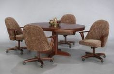 dinette set with casters.    Not so pretty but the chairs are very comfy