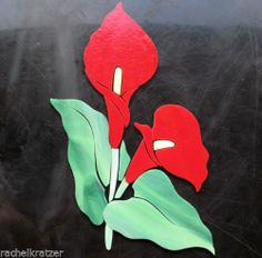 Precut stained glass art kit RED CALLA LILIES Mosaic Garden Stone Tile Inlay