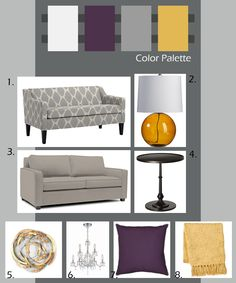 i like the idea of using this color palette, with shades of eggplant to lavender, and mustard to candleglow. :)