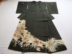 Japanese Antique Kimono Silk Black Tomesode Flower P022327 | eBay