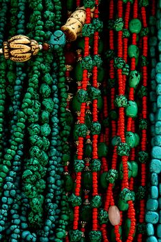 Turquoise and red beads
