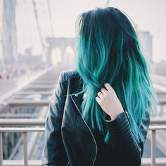Teal green ombre hair color idea for dark hair girls, pretty Hair Color