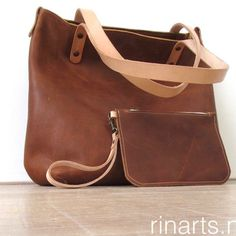 Tote bag BIG city in cognac veg tanned pull up leather