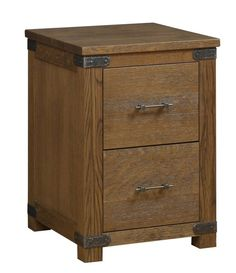 Amish Georgetown 2-Drawer File Cabinet Solid wood industrial style storage for home office or business. Two file drawers help keep documents organized. The Georgetown wears a straightforward solid wood look with metal accents that make a great combo. Built in choice of wood and stain. #filecabinet #officestorage #woodofficefurniture