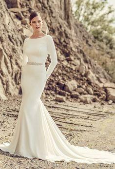 mikaella spring 2017 bridal long sleeves bateau neckline simple clean design elegant fit and flare wedding dress open low back long train (2105) mv