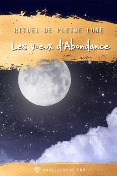Prochaine pleine lune lundi 21 janvier 2019 à 06:17 (heure Paris), voici un rituel de pleine lune pour attirer l'abondance dans votre vie : les Voeux de l'Abondance ! #pleinelune #abondance #rituel #voeux This Magic Moment, In This Moment, New Moon Full Moon, Mind Body Spirit, Moon Art, Beautiful Places To Visit, Reiki, Wicca, Happy Life