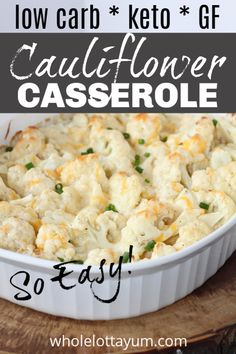 An easy low carb keto cauliflower casserole that makes the perfect keto side dish with dinner or as a holiday recipe. You'll love the simple 3 cheese cream sauce! This easy au gratin is low carb, gluten free and vegetarian too. Keto Foods, Vegan Keto Diet, Vegetarian Keto, Low Carb Keto, Ketogenic Diet, Diet Dinner Recipes, Diet Recipes, Healthy Recipes, Keto Cauliflower Casserole