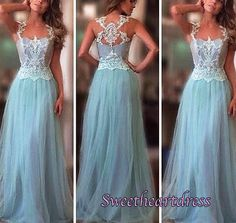 Modest prom dress, ball gown, 2016 pretty blue lace tulle long evening dress for teens