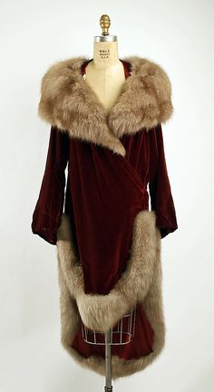 "Silk Velvet Evening Coat, Trimmed with Fur, Labeled ""Philippe & Gaston, Paris"", c. 1928."