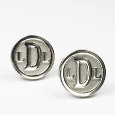 Round Monogram Cuff Links in Sterling Silver   Made on Hatch.co