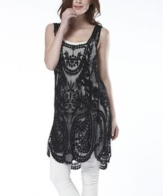 This Simply Couture Black Lace Crochet Sleeveless Tunic by Simply Couture is perfect! #zulilyfinds