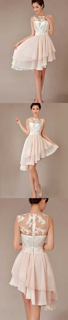 Cheap Pretty Junior Blush Pink Hi-Lo Short Knee-Length Discount Wedding  Bridesmaid Dresses 55f62ef86eeb