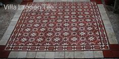 Red and white reclaimed antique tile Floor Rugs, Tile Floor, Antique Tiles, Encaustic Tile, White Rug, Abandoned Houses, Mosaic Tiles, Red And White, Flooring