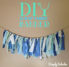 Let me start by saying I amin love with this craft. This is the quicker, shabby-chic version of a traditional fabric pennant banner (if this isn't quite your thang, check out my DIY no-sew f…