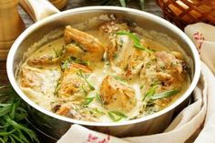 """Pinner said: """"Welcome to my quick one pot chicken fricassee recipe. My version of the traditional chicken fricassee recipe is inspired over a meal out that we recently had and how we fell in love with this classic dish. Slow Cooked Chicken, One Pot Chicken, Yum Yum Chicken, How To Cook Chicken, Cooking Ingredients, Cooking Recipes, Healthy Recipes, Protein Recipes, Salmon Recipes"""