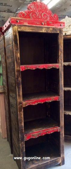 Handmade Rustic Agave Bookshelf Hutch In Red