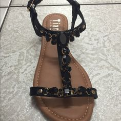 Black Sandals with gemstones Sandal has buckle on the side. Available in all sizes Tiara Los Angeles Shoes Sandals