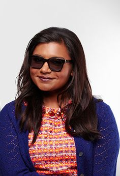 Mindy Kaling wearing sunglasses from the Warby Parker X Donors Choose collaboration. Each pair of frames helps fund a classroom project in the U.S.