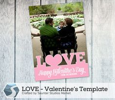 Valentine's Day Card Template: LOVE - 5x7 Photoshop Template by SaunterStudios on Etsy, $8.00
