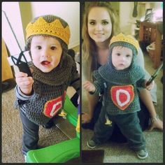 Crochet knight Halloween costume with crown and cardboard sword ;)
