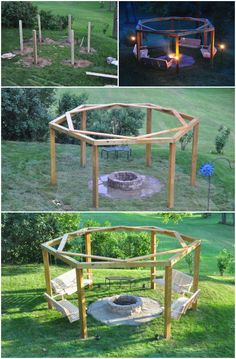 DIY Porch-Swing Fire Pit Tutorial, Perfect Summer Outdoor Feature You Can Create for family and night party #Outdoor, #Furniture