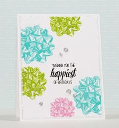 Add a cheerful bow to your papercrafts with our layered GrandBows set. 4x6 inches 6 stamps Made of photopolymer Made in the U.S. Comes with a color printed la