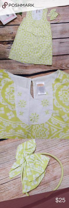 "Gymboree Lime & White Sun dress with Bow Headband Gymboree  -Like New. Fully lined lime and white Kaleidoscope pattern sleeveless sun dress. Keyhole back with single button. 100% Cotton. Sz 6 - coordinating like new headband with side bow . One size  We had so many outfits , they are all nearly new or new. All of my daughters worn clothing was washed on gentle cycle and hung to dry. Any flaws will be listed.   Approximate measurements laying flat: Chest:13"" Length:24""  SMOKE FREE HOME…"
