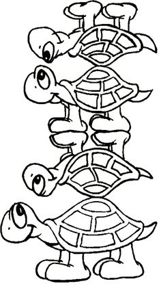 Four Turtle Cute Coloring Page
