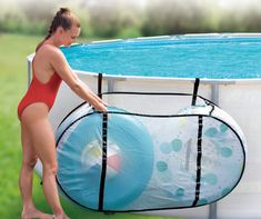 The Summer Waves pool caddy features universal buckle straps for use with all metal frame pools, adjustable side straps and convenient folding design. Keep your pool toys and accessories organized and easily accessible with this durable mesh caddie. Above Ground Pool Landscaping, Above Ground Pool Decks, Above Ground Swimming Pools, In Ground Pools, Landscaping Rocks, Pool Toy Storage, Pool Float Storage, Storage Caddy, Pool Organization