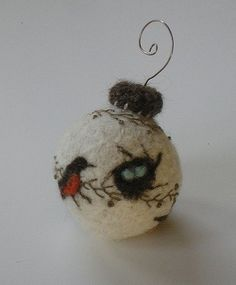 felted ornaments with birds
