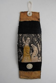 A Golden Gown - embroidery artwork cuff - bracelet - wearable art
