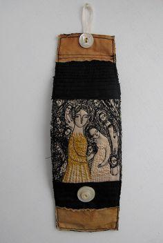 A Golden Gown - embroidery artwork cuff - bracelet - wearable art