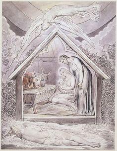 William Blake - Illustration to Milton`s On the Morning of Christ`s Nativity 1809 William Blake, Science Of Love, The Nativity Story, Art Database, Sacred Art, Watercolor Illustration, Watercolour, Art History, Printmaking