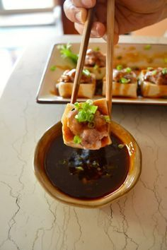 Hakka-style stuffed tofu (Steamed). So savory with our special dipping sauce, it's incredible!