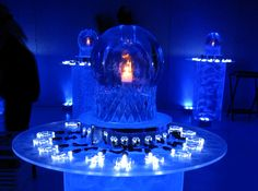 Fire & Ice - Ice Orb table centerpiece with candle inside.