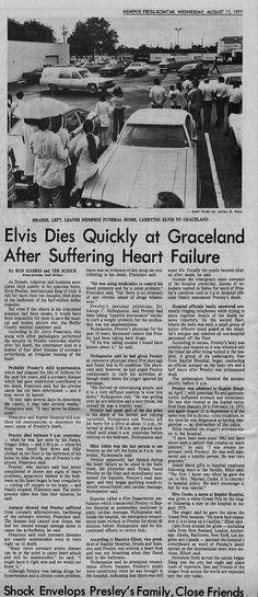 ELVIS DEAD AT GRACELAND MEMPHIS PRESS-SCIMITAR ORIGINAL ELVIS PRESLEY ...