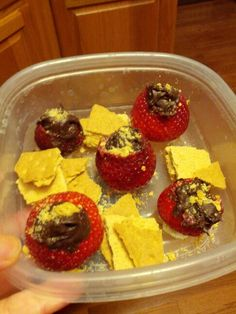 Chocolate filled strawberry cups