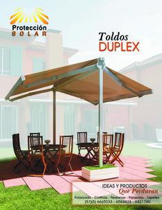 Toldo Duplex, es un toldo de doble proyección con brazos extensibles y un solo mecanismo que permite modificar la proyección de ambos lados. Este toldo puede ser manual o motorizado.  Es un producto ideal para exteriores.